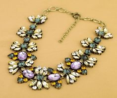 NEW Crystal Green+Purple Flower Necklace best crew gift stylish gal j USA Seller