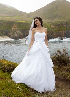 Sample: Tulle Ball Gown Wedding Dress with Lace-Up Back and Side Swags