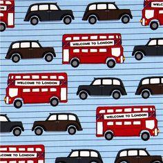 light blue London fabric bus & car Robert Kaufman USA