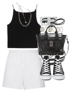"""""""Outfit with striped shirts and Converse for summer"""" by ferned on Polyvore featuring T By Alexander Wang, Forever 21, Sandro, Chiara Ferragni, 3.1 Phillip Lim and Converse"""