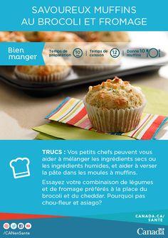 Parfait pour le petit déjeuner ou une collation sur le pouce! Obtenez la recette ici :   http://www.canadiensensante.gc.ca/eating-nutrition/healthy-eating-saine-alimentation/recipes-recettes/broccoli-cheese-muffins-brocoli-fromage-fra.php?_ga=1.133661518.1126085306.1413906963&utm_source=twitter_hcdns&utm_medium=social_en&utm_content=dec7-savbrocoli10&utm_campaign=social_media_14&utm_source=pinterest_hcdns&utm_medium=social_fr&utm_content=dec7_savbro7&utm_campaign=social_media_14