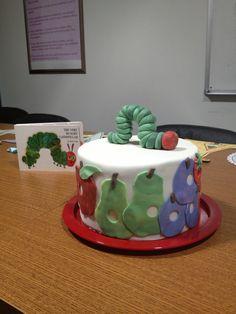 Very hungry caterpillar baby shower cake