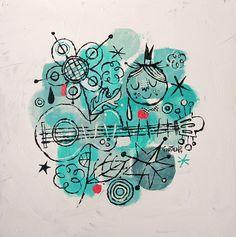 "8""x8"" Acrylic on Wood by Alberto Cerriteño"