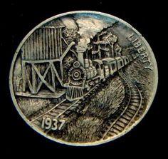 "Hobo Nickel ""Frisco Lines"" Railroad Train Howard Thomas"