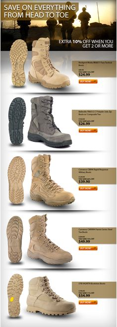 SUMMER CLEARANCE ON TACTICAL BOOTS - Last Sizes Remaining - EXTRA 10% OFF WHEN YOU GET 2 OR MORE! #Botach #Tactical #BotachTactical #EBAY #Military #Boots #Shoes #Footwear #DailyDeals #Deals #Converse #Belleville