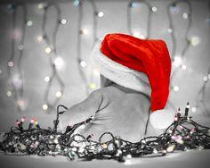 Ava's first #Christmas - #Baby #ColorSplash #SantaHat #Lights