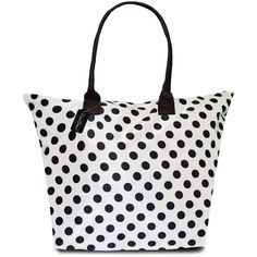 Peach Couture KYLIE Polka Dot Plage a Main Waterproof Tote ($25) ❤ liked on Polyvore