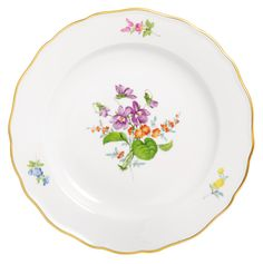 "Plate, Shape ""Neuer Ausschnitt"", Vintage Flowerpainting 2, Veilchen, gold rim, ø 20 cm"
