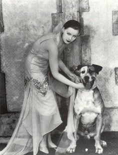 Greta Garbo, with dog, in Flesh and the Devil (1926)