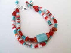 Blue Chalcedony Coral Spiny Oyster 925 Silver Artisan Double Stranded Bracelet Designed by Blue Tortue