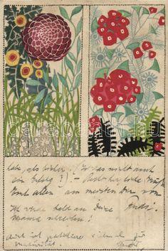 Maria Likarz-Strauss (Austrian, 1893-1971). Wiener Werkstätte floral postcard.
