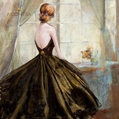 Print με φύλλο χρυσού 100x100. Από την Alphab2b.gr Dress Painting, Ball Gowns, Formal Dresses, Art, Fashion, Ballroom Gowns, Dresses For Formal, Art Background, Moda