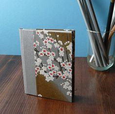 Pocket Notebook  White Blossom Chiyogami  Hardback by thepressgang