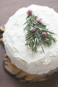 Christmas Cake w/ Rosemary Tree & Sugared Cranberries