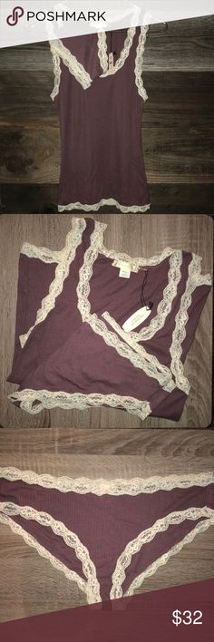 Victoria's Secret Lace trim cami and knickers set Lace trim camisole with matching panties. Sold as a set. Victoria's Secret Intimates & Sleepwear