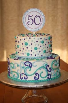Another fun party cake! The bottom tier is raspberry cake with lemon whipped cream filling. The top tier is carrot cake with cream cheese. 50th Birthday Cake Images, 50th Birthday Cake For Women, Moms 50th Birthday, 50th Cake, Birthday Cupcakes, Birthday Ideas, Husband Birthday, Birthday Parties, Happy Birthday
