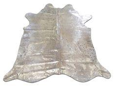 H-1008 Silver Metallic Cowhide Rug acid washed on by Cowhidesusa