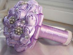 Made to Order Satin Ribbon Roses Bridal Brooch by GemsforDivas