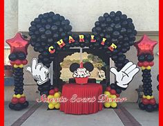 Charlie's Mickey Design by: Sweets Event Decor Mickey Mouse Birthday Decorations, Mickey Mouse Balloons, Mickey Mouse Centerpiece, Fiesta Mickey Mouse, Mickey Mouse Parties, Mickey 1st Birthdays, Mickey Mouse First Birthday, Mickey Mouse Clubhouse Birthday Party, Elmo Birthday
