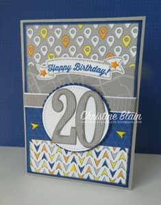 Have you seen that Stampin' Up! has an amazing Designer Series Paper promotion this month? Buy three packs of select papers, and receive an. Masculine Birthday Cards, Birthday Cards For Men, Handmade Birthday Cards, Man Birthday, Masculine Cards, Greeting Cards Handmade, Kids Cards, Baby Cards, Men's Cards