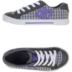 Dc Shoecousa Sneakers ($58) ❤ liked on Polyvore featuring shoes, sneakers, purple, tartan shoes, rubber sole shoes, plaid shoes, purple sneakers and flat shoes