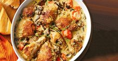 This one-pot dish of creamy chicken and mushroom is great served with crusty bread.