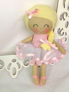 Ballerina Handmade Doll Rag Doll Fabric Dolls by SewManyPretties #ballerinagift #girlgift