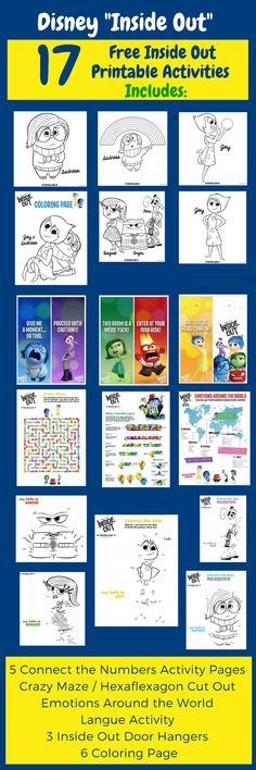 Here are 17 free Inside Out printable activities to be used for parties or just fun. Click on the image to download the free Inside Out printables or pin it for later :)