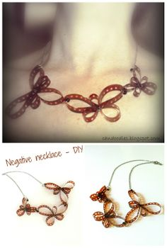 DIY Film Negative Necklace - Lomography. Found a bunch of rather old fIlm negatives, must try this!