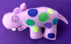 Sleeping Hippo plush baby rattle by Ecotrinkets - Amy Monthei