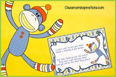 Wouldn't it be fun to mail these out to your students? The postcards are editable so they could be used for many reasons. They could be sent to welcome students to a new year, for birthdays, to parents for meeting reminders or used as thank you notes. Check out all of the Sock Monkey themed products! $ www.ClassroomInspirations.com