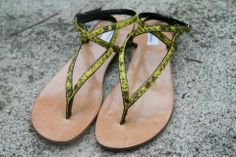 Yellow snake sandals.