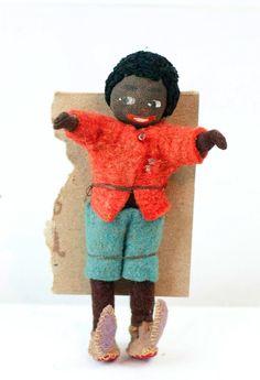 "RARE 1930s German BAPS Little Black Sambo Doll 3.75"" MINT"