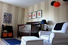 Just like T's walls.  I could take out the red and do orange.  Love, the orange, navy, black and khaki together.