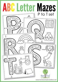 Alphabet Letter Mazes - free printables for the letters P to T from Homeschool Creations