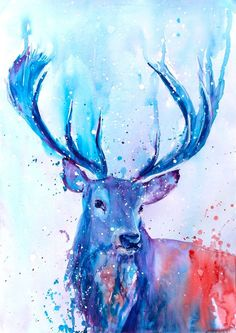 Stag Deer in the Snow Watercolour Large Original Animal PAINTING A3 signed ART
