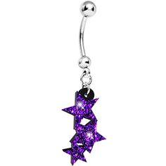 Purple Hazed Glitter Shooting Star Dangle Belly Ring | Body Candy Body Jewelry #bodycandy