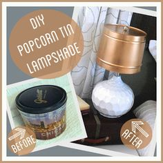 DIY Popcorn Tin Lampshade ~ use a popcorn tin to make a lampshade. Make A Lampshade, Fabric Lampshade, Lampshades, Lampshade Ideas, Lamp Ideas, Decor Ideas, Spray Paint Countertops, Painting Countertops, Painting Cabinets