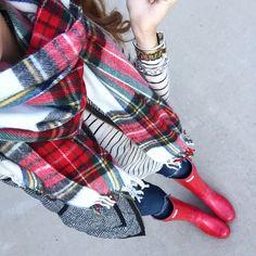 Plaid scarf, herringbone vest, striped shirt