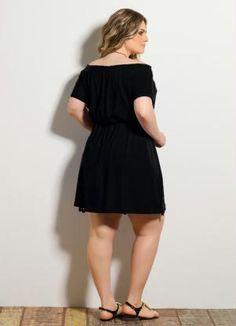 Vestido Detalhe Vazado Preto Plus Size - Quintess