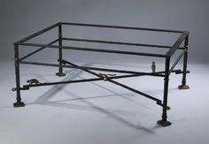 джакометти вдохновил журнальный столик из кованого железа в коричневых бронза, золото проблемных моментов со стеклянной столешницей