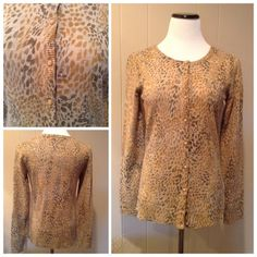 "Leopard print cardigan Like new leopard print button down cardigan. Brand is East 5th. Size S: 18""UA, 25""L. East 5th Sweaters Cardigans"