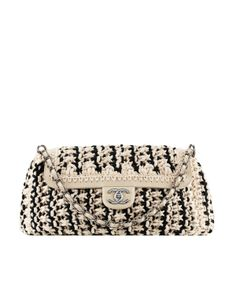 Crochet Fancy Bags : Chanel Black and White Straw Tote Bag with Chain - Cruise 2014 ...