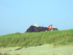 Söl'ring Hof in der Düne mit Schweizer Flagge