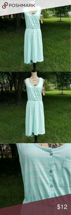 {Merona} mint green dress Merona white and and mint striped high low dress. New with tags. Large size. Some stretch in waistband and buttons at the front. 60% cotton and 40% polyester.  I have a pet and smoke free home. Merona Dresses