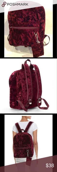 "🦃SALE🆕CANDIE'S NOVA CRUSHED VELVET & COIN PURSE Candies burgundy Nova crushed velvet dome backpack with coin purse. The backpack includes removal coin purse. Product details - Top loop - 3"" drop, Shoulder straps - 8""- 16"". Silver - tone. Hardware. Zipper closure. Exterior : zip pocket. Interior : main compartment, zip pocket& 2 slip pockets. Dimensions backpack - 16""H x 12"" W x 5"" D.  Coin purse dimensions : 3.5""H x 5"" W. Fabia - velvet, nylon lining, wipe clean. BRAND NEW WITH TAG…"