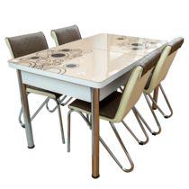 Set masa extensibila cu 4 scaune, MDF, blat sticla securizata, crem + maro Arabesque, Outdoor Furniture, Outdoor Decor, Table, Home Decor, Decoration Home, Room Decor, Tables, Home Interior Design