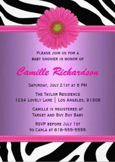 purple zebra baby shower ideas for girls   purple and pink zebra girl baby shower invitation