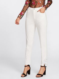 Crop Button Fly, Zipper Fly. Straight Leg Decorated with Button, Pocket, Zipper, Contrast Lace. Regular fit. Mid Waist. Plain design. Trend of Spring-2018, Fall-2018. Designed in White. Fabric has no stretch.