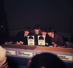 11th December 1963:  The Beatles pictured during their appearance on the music panel show, Juke Box Jury; pictured left to right are: John Lennon (1940 -1980), Paul McCartney, Ringo Starr and George Harrison (1943 - 2001).  (Photo by Hulton Archive/Getty Images)